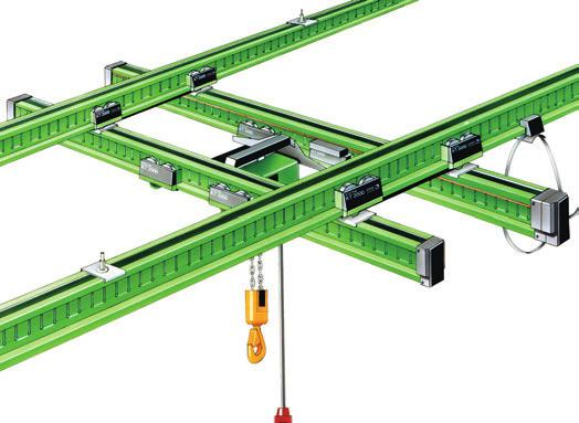 bridge rails with pendulum suspension > Ideal _ system-integrated conductor line for parallel operation of more than one crane on the same crane bridge Double-girder suspension crane 2 > High