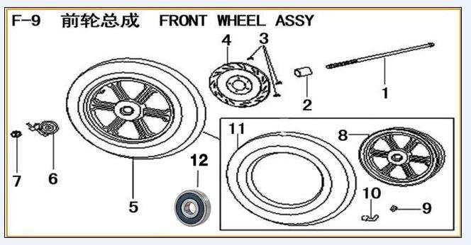 ML125T-26 Frame Parts 125269-1 Front Axle 125269-2 Front Wheel Right Bush 125269-3 Front Brake Disk Bolt 125269-4 Front Brake Disc 125269-5 Front Wheel Assy 125269-6