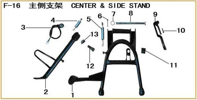 ML125T-26 Frame Parts 1252616-1 Center Stand Comp. 1252616-2 Side Stand 1252616-3 Side Stand Switch 1252616-4 Side Stand Spring 1252616-5 Center Stand Spring 1252616-6 Pin 2.