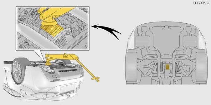 Jack point Avoid Torque Transfer Modules* RC F (vehicles with TVD [Torque Vectoring Differential]) *Caution: Do not place the floor jack under either torque transfer module.