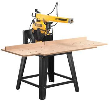 RADIAL ARM SAWS / BANDSAWS 300mm RADIAL ARM SAW DW721KN/ DW722KN* Free standing radial arm saw with 507mm of crosscut capacity and 90 mm depth of cut Solid cast Iron arm and four roller bearings in