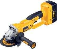 36V 36 Volt Heavy Duty Cordless Finishing Grinder DC415KL/ DC415KN* Powerful DEWALT fan cooled motor delivers maximum power and durability 6,500 rpm provides high power for cutting and grinding
