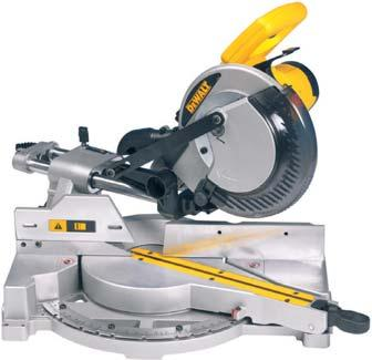 Compact internal rail design for huge cutting capacity in a highly transportable format Standard Equipment: 24 tooth saw blade, 2 bench mounting bolts, Blade spanner DW777 DW771 1800 Watts 1600 Watts