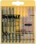 4-5 Wood 65, Metal 10 T345XF 5 5035048060988 16,00 EXTREME DEWALT SPECIAL MATERIAL BLADES T SHANK Specialist blades for cutting a wide variety of materials See individual blades for details Cat. No.