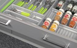GRASS StUDIo DWD-xP exzellent SPICe InSeRtS > Material: Plastic (vacuum formed) > Finish: White grained or silver grained > Version: With wide edge for cutting to exact drawer size > thickness (mm):