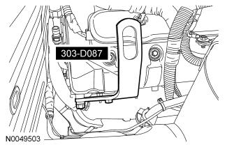 Remove the lower radiator hose assembly from the vehicle. 17. Disconnect the A/C pressure transducer electrical connector. 18. Remove the power steering tube bracket nut from the generator stud bolt.
