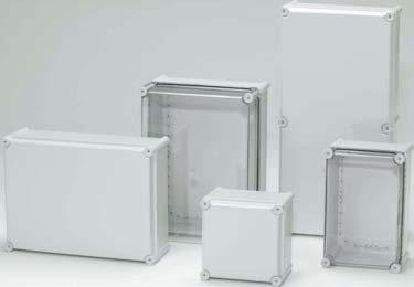 Enclosures ALL FIBOX ENCLOSURES ARE ROHS COMPLIANT ABS IP66/67 IP65 enclosure, halogen free. Temperature range - 40degrees to +120degrees C. Grey (RAL 7035). Two lid depths, 30mm & 80mm.