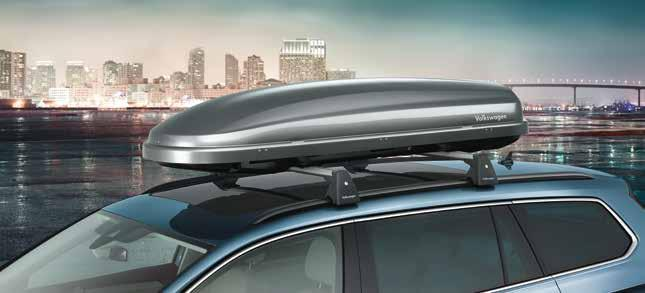01 01 Volkswagen Genuine Roof box The aerodynamic roof box provides an impressive combination of minimal driving noise together with simple and quick installation using a quick-action clamping