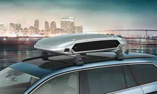 The roof box has been adapted to the modern design line of the new Volkswagen models. It opens from one side and is equipped with a 2-lock system. Part. no. 000.071.