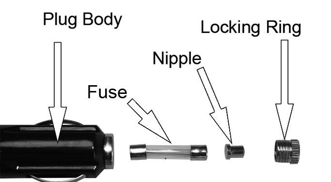 Unscrew the locking ring, making sure that you don't lose the nipple 2. Replace the 15A glass fuse and reassemble the plug.