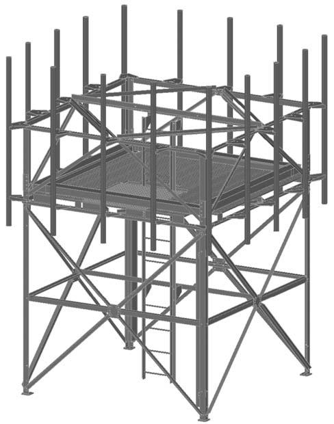 14.10 HW- & JW- Rooftop Frame Kit for Microwave Antennas These all-inclusive Kits provide the Rooftop Frame, cable trays, full work platform with hatch, climbing ladder, pipe mounts and antenna