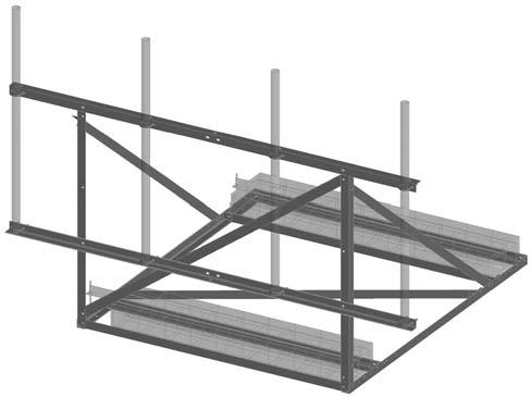The Frames have a face width of 16' and are 3' high. B2530 Non-Penetrating Rooftop Ballast Frame $680.