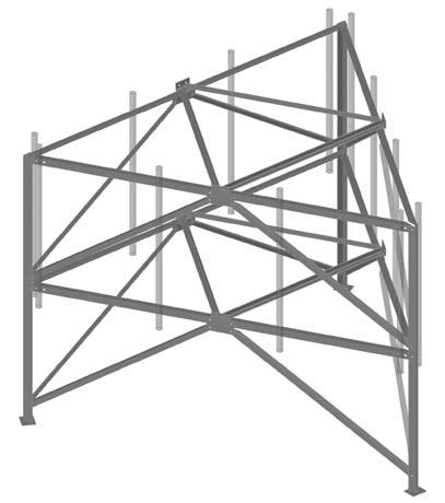 14.6 Tri-Sector Rooftop Frame for Anchored Installation The Tri-Sector Rooftop Frame enables installation of up to twelve panel antennas for three sectors on one rooftop, threeleg structure.