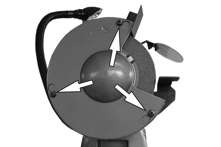 REPLACING THE WHEELS WARNING: THE POSITIONS OF THE GRINDING WHEEL AND WIRE WHEEL SHOULD NOT BE INTERCHANGED, AS THIS MAY RESULT IN INJURY OR DAMAGE TO THE PRODUCT WARNING: DO NOT USE DAMAGED GRINDING