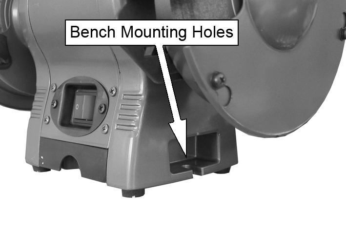 BEFORE USE MOUNTING THE GRINDER ON A WORKBENCH NOTE: We highly recommend that you bolt this bench grinder securely to a workbench to gain maximum stability for your