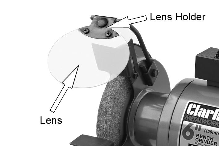 NOTE: Adjust the eye shields to an appropriate distance from the tool rests avoiding interference during operation.