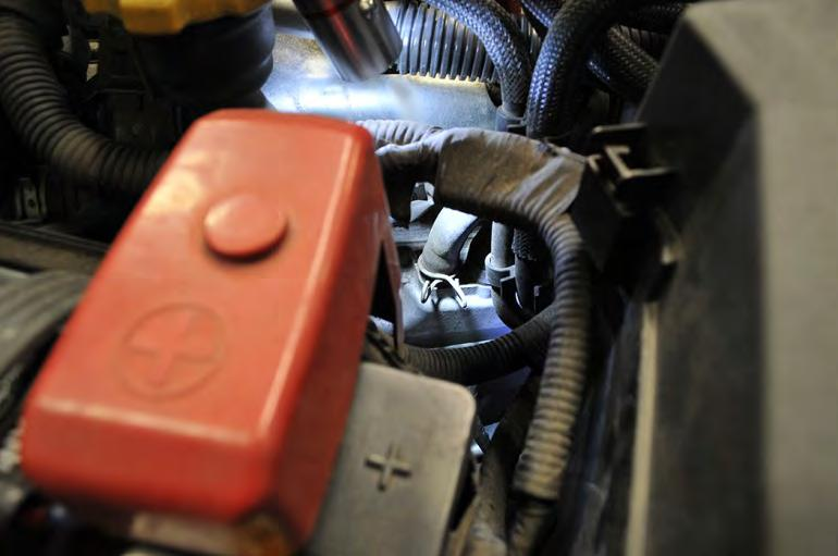 10. Remove the clamp from the OEM blow-by sensor