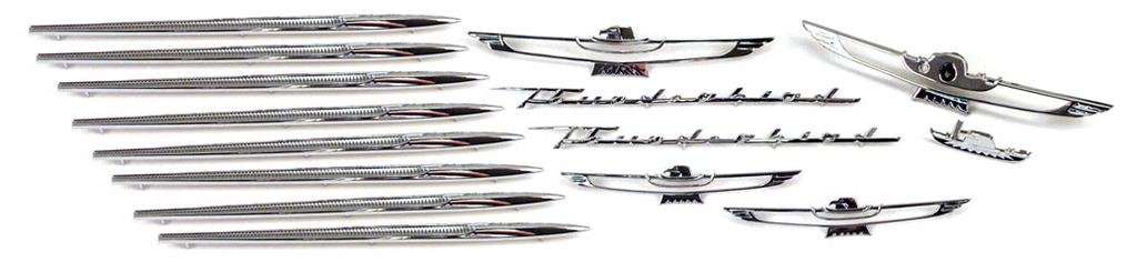 16 1961-63 EXTERIOR CHROME TRIM KIT IF YOU ARE REPAINTING YOUR T-BIRD, OR JUST WANT TO SPRUCE IT UP, THIS KIT IS A MUST! 2 ea. 16098 Fender Script 2 ea. APK-28 Barrel Nuts 1 ea.