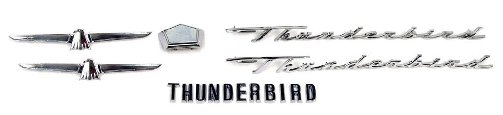 IF YOU ARE REPAINTING YOUR T-BIRD, OR JUST WANT TO SPRUCE IT UP, THIS KIT IS A MUST! 1 ea. 16606-K Hood Letters 2 ea. 25622-B Script 1 ea. 43501-E Trunk lock Cover (Cpe & Landau Only) 2 ea.