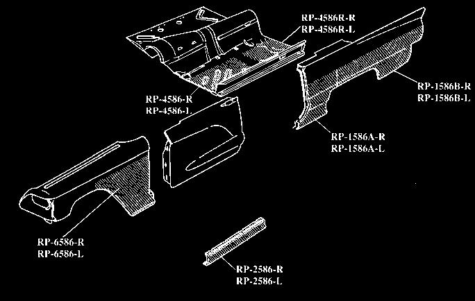 1958-1960 REPAIR PANELS RP-4586-R RP-4586-L 1958-1960 REPAIR PANELS RP-1586A-R Quarter dog leg, RH.................... ea.