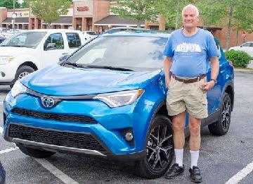 May 2017 Debuts Richard Lowe 2017 Toyota RAV4 SE Hybrid. Electric Storm Blue with Black leather interior. Richard liked his 2008 RAV4 so much, he decided to get another one.