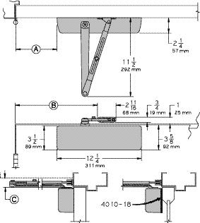 LCN 4010 SERIES HINGE (PULL) SIDE MOUNTING MAXIMUM OPENING Can be templated for 100, A = 5 15/16 (151 mm) B = 11 15/16 (303 mm) or 140.