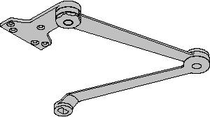 72MC ARMS EXTRA DUTY ARM, 4110-3077EDA, 4110-3077EDAG, Non-handed parallel arm features forged, solid steel main and forearm for potentially abusive installations.