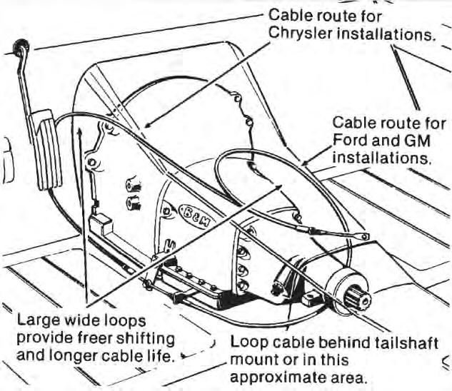 6. Install the backup light switch and the neutral safety switch in place on the shifter mechanism as shown in Figure 1. Install them using the two supplied #4-40 screws, nuts and lock washers.