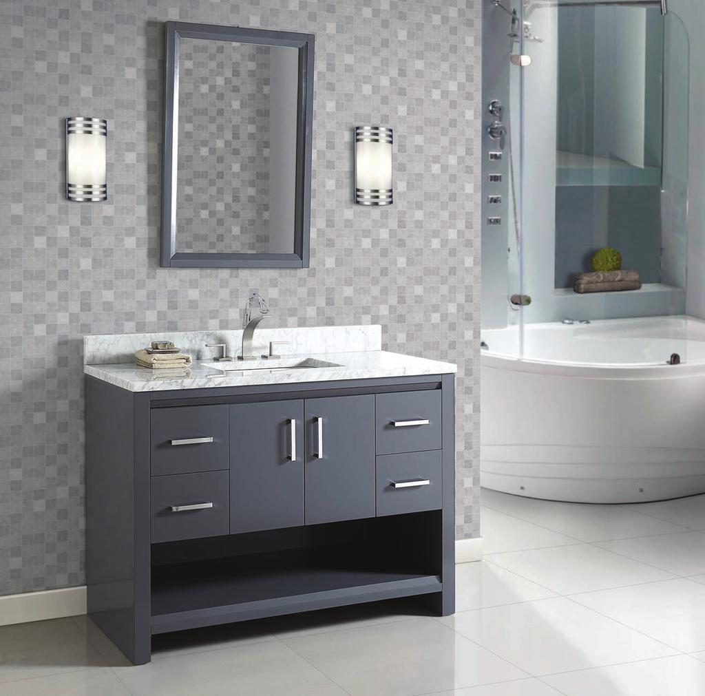 Studio One (1518) Finish: Glossy Pewter Shown above 1518-V48 48 Vanity T3-S4822WC 3cm (1¼ ) 48 White Carrera Marble Top (8 spread) Rectangular -