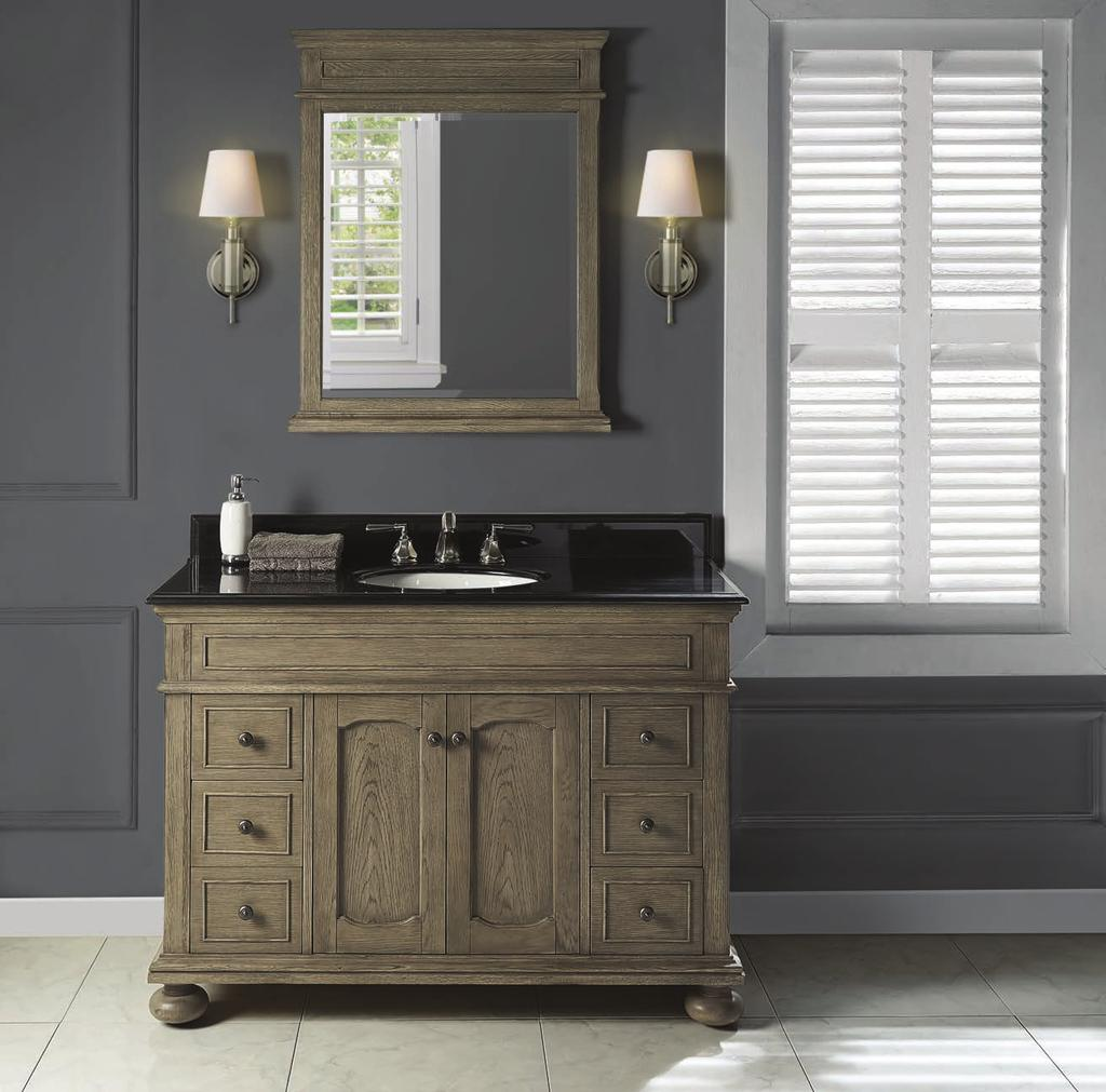 Oakhurst (1535) Finish: Antique Grey Shown above 1535-V48 48 Vanity T-4922BA 49 Black Absolute Granite Top (8 spread) S-100WH Oval -