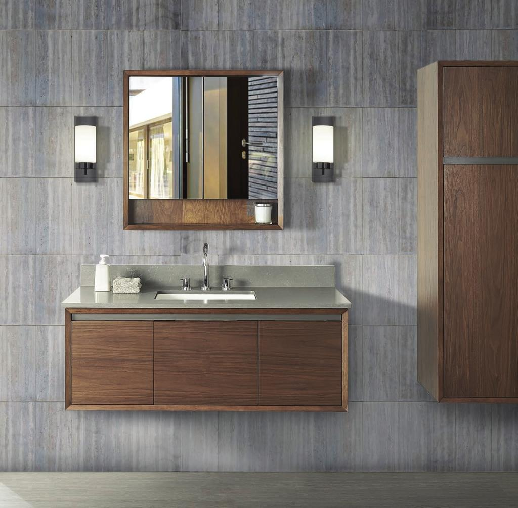 (1505) Finish: Natural Walnut Shown above 1505-WV48 48x21 Wall Mount Vanity TQ2-S4922SG8 2cm (¾ ) 49 Spectre Gray Quartz Top (8 spread)
