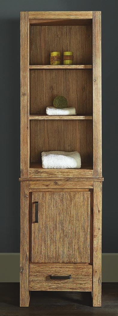 1530-HT2118 21x18 Linen Hutch 17-1/4 x 22 x 44 Shelf: 2 (adjustable) use with 1530-V2118 to make 21 Linen Tower (sold separately) 1530-V2118 21x18 Vanity 21 x 17-1/4 x 33 Door: 1 (hinge-right)