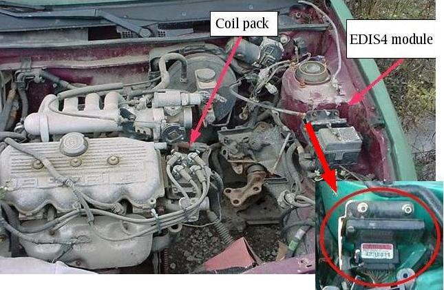 12: Appendix B: junkyard guide to finding EDIS 12.1 North America - EDIS4 Early to mid 1990s Ford Escort/ Mercury Tracer with base 1.9L SOHC engine were fitted with the EDIS4 system.