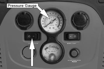Switch the air compressor ON using the switch shown. The air pressure will be indicated by the pressure gauge. Pump up the tyre to the required pressure.