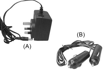 CHARGING THE BATTERY Two means of charging the battery are provided. 1. Via a 230V supply, using the 230V charger with cable and DC plug provided, shown as A. 2. Via a 12V vehicle supply using the cigar lighter adapter with cable and plug provided, shown as B.