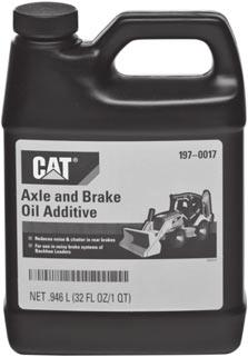 Lubricants 2313370 Cat Axle and Brake Oil Additive English Volume (qt) Metric Volume (L) Part Number 1 qt -- 197-0017 2313382 Brake Fluid Meets DOT
