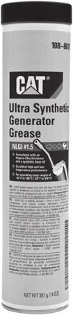 Greases 2314000 Ultra Synthetic Generator Grease Clay-thickened, synthetic based oil, multi-service grease. Provides low temperature breakaway performance. NLGI #1.