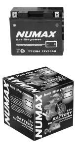 6 Battery specifications - NUMAX motorcycle & mower range Part No. Ah Dimensions Layout Terminals Varta No.