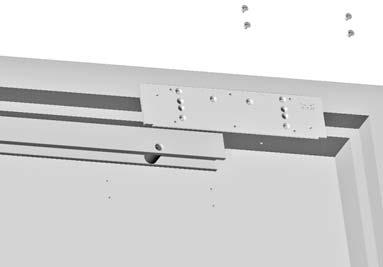 Reference template 08809 NOTE: For use on soffit mount applications on the push side of the door.. Orient the open end of the track () towards the hinge.