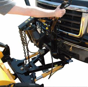 Pull vehicle into plow assembly and push plow assembly forward an inch or two. B.