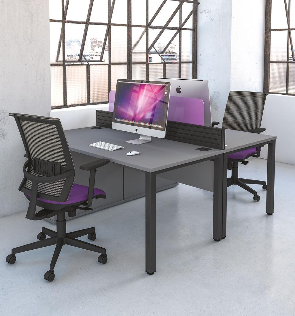 introduction Pure desking is a modern take on affordable desking. The individual desks offer the bench impression without restrictions.