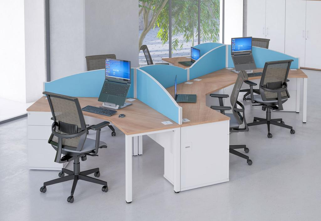 The Pure 120 segment combination desk saves vital office space when creating groups of 3 workstations due to the