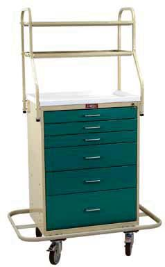 ANESTHESIA CARTS & WORKSTATIONS CLASSIC LINE MONITOR CARTS High Quality, Standard Model 6650 Six Drawer, with Short Overhead Shelves 6651 Six Drawer, with Tall Overhead Adjustable