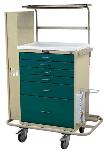 ANESTHESIA CARTS & WORKSTATIONS CLASSIC LINE DIFFICULT AIRWAY CARTS Be Prepared for the Next Intubation Procedure 680350 Scope Cabinet Included Stainless steel overhead shelf with velcro strap and