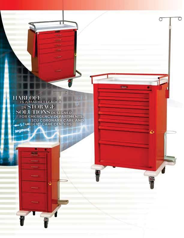 EMERGENCY & CRITICAL CARE CARTS Harloff tailors emergency carts to meet your needs. In addition to the many standard configurations shown, we are well known for our custom capabilities.