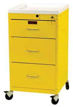 INFECTION PREVENTION & CONTROL CARTS GP LINE, MINI LINE, ETC Smaller Footprint 6151 GP Line, Three Drawer with Bottom Storage Compartment, Specialty