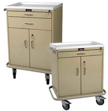 TREATMENT & PROCEDURE CARTS CLASSIC LINE Store Stock Medications Above, Bulkier Supplies Below 6201 Tall Two Drawer with Lower Storage Compartment, Specialty Package 6200 Tall Two Drawer with Lower