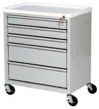 designed for bedside use Key lock, with two keys Removable plastic top Drawer fronts have integrated pull handles Roller drawer slides Unibody steel