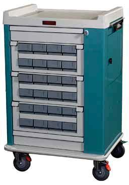 MEDICATION CARTS OPTIMAL LINE Light Weight Aluminum, Contemporary Design AL16CS 16 Medication Bin Cassette Cart The Optimal Line of Harloff Cassette Carts is designed for function, convenience, and