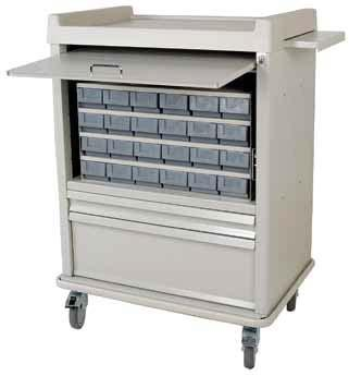 MEDICATION CARTS ECONOMY LINE Functional Utility at an Affordable Price Secured Panel Door Hides Cassette EL24CS 24 Bin Cassette Cart Drawers for General Storage Steel